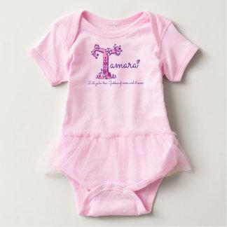Tamara girls name & meaning T monogram clothing Baby Bodysuit