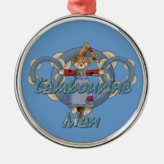 Tambourine Man Silver-Colored Round Decoration