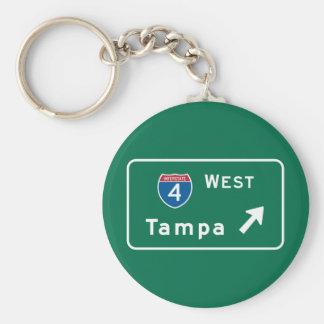 Tampa, FL Road Sign Key Ring