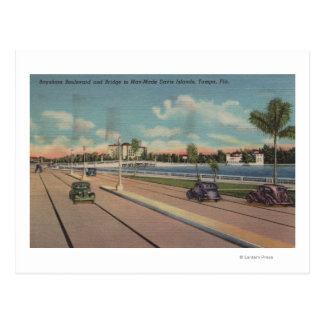 Tampa, FL - View of Bayshore Blvd, Bridge Postcard