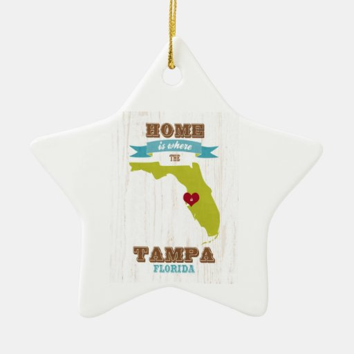 Tampa, Florida Map – Home Is Where The Heart Is Ornaments