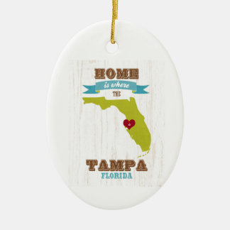 Tampa, Florida Map – Home Is Where The Heart Is Ceramic Oval Decoration