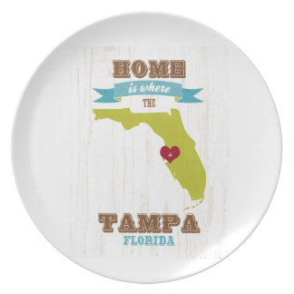 Tampa, Florida Map – Home Is Where The Heart Is Dinner Plate