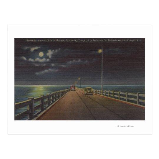 Tampa, Florida - Moonlit View of Gandy Bridge Postcard
