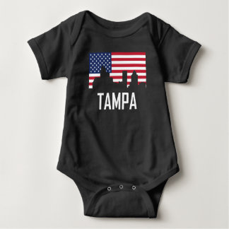 Tampa Florida Skyline American Flag Baby Bodysuit