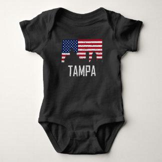 Tampa Florida Skyline American Flag Distressed Baby Bodysuit