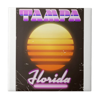 Tampa Florida vintage 80s travel poster Tile