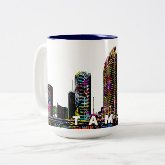 Tampa in graffiti Two-Tone coffee mug