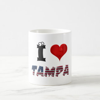 Tampa Love Florida Heart American Flag Typography Coffee Mug