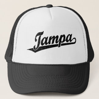 Tampa script logo in black distressed trucker hat