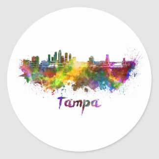 Tampa skyline in watercolor classic round sticker