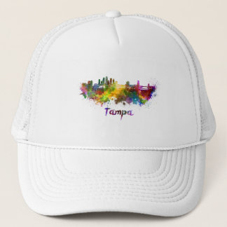 Tampa skyline in watercolor trucker hat