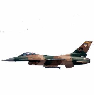 Tan Aggressor F-16 Fighting Falcon Standing Photo Sculpture