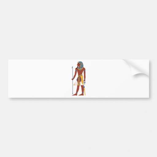Tan Ancient Egyptian Man in Headdress Holding Ankh Bumper Sticker