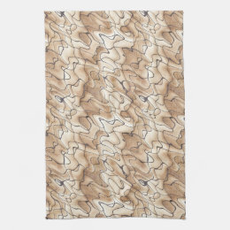 Tan and Beige with Black Squiggly Lines Tea Towel