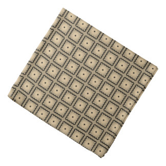 Tan and Black Square Dot Pattern Bandana