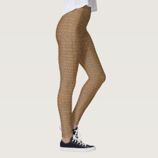 Tan and Brown Bamboo Straw Look Leggings