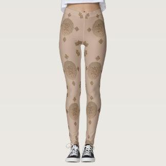 Tan and Brown Circles and Squares Leggings