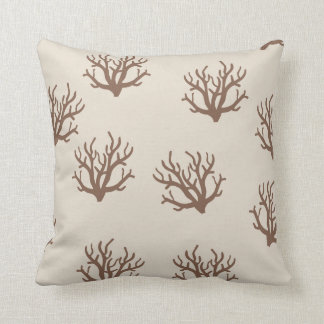 Tan and Brown Coral pattern pillow Throw Cushion