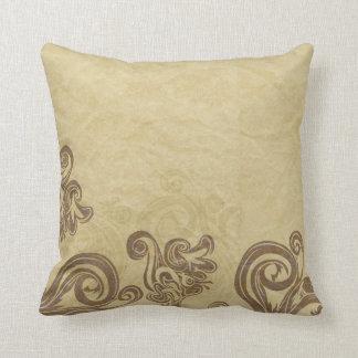 Tan and Brown Damask Pattern Cushion