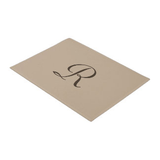 Tan and Brown Monogrammed Door Mat Doormat