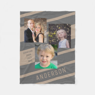 Tan and Charcoal Custom Family Photo Personalised Fleece Blanket