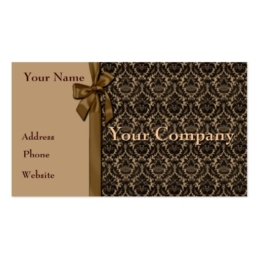 Tan and Dark Brown Damask Business Card