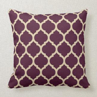 Tan and Elegan Purple Quatrefoil Moroccan lattice Cushion