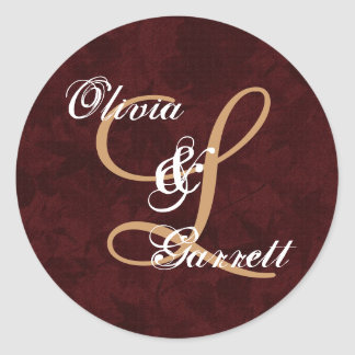 Tan and Sienna Monogram K or Any Initial V3 Classic Round Sticker
