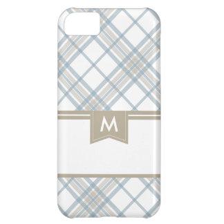 Tan and Steel Blue Plaid Monogram iPhone iPhone 5C Case