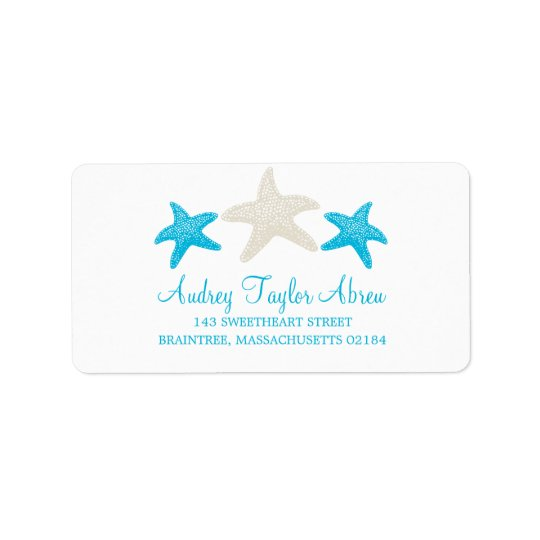 Tan and Teal Starfish | Return Address Label
