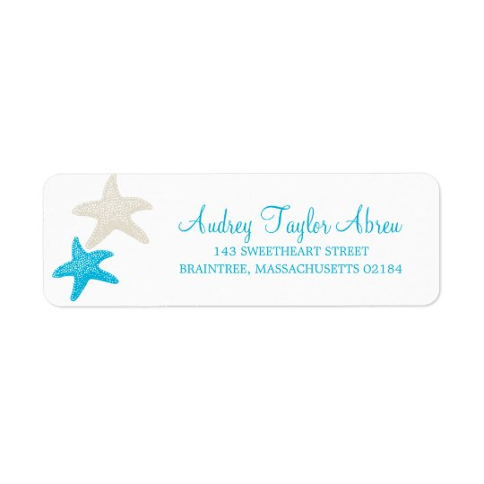 Tan and Teal Starfish | Return Address Return Address Label
