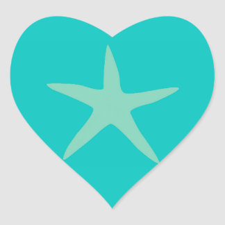 Tan and Turquoise Starfish Heart Sticker