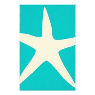 Tan and Turquoise Starfish Personalised Stationery