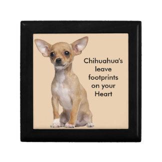 Tan and White Chihuahua Small Square Gift Box