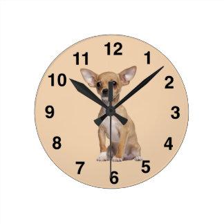 Tan and White Chihuahua Wall Clock