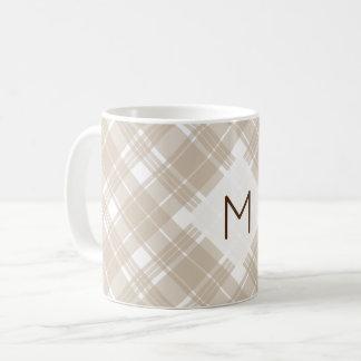 Tan and White Tartan Plaid Monogram Coffee Mug