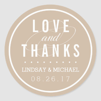Tan and White Wedding Favor Thank You Round Sticker