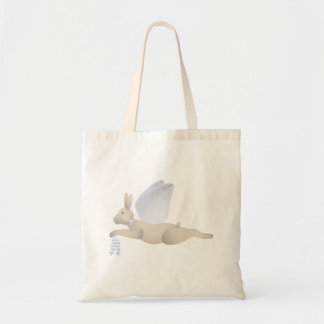 Tan Angel Rabbit With Blue Wings Budget Tote Bag
