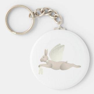 Tan Angel Rabbit With Yellow Wings Key Chain