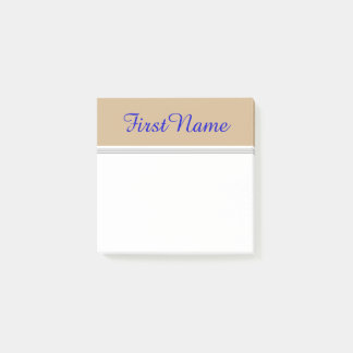 Tan Background w/ Blue Elegant Personalized Name Post-it Notes