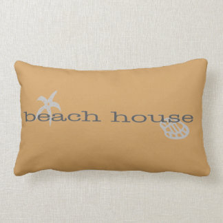 Tan Beach House Throw Pillow Starfish Seashell