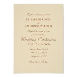Tan Beige Brown Plain Simple Wedding Invitation