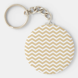 Tan Beige White Chevron Pattern Key Ring