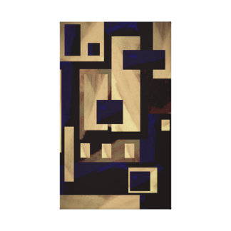 Tan Black Blocks Abstract by Delynn's Designs Canvas Print