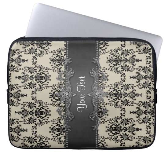 Tan Black Damask Personalised Laptop Sleeve
