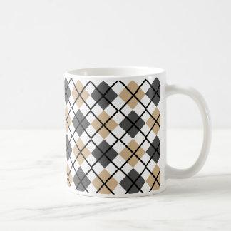 Tan, Black, Grey on White Argyle Print Mug