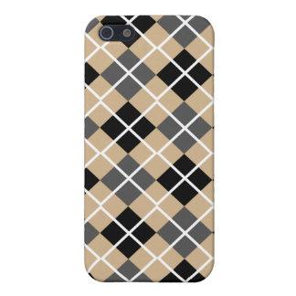 Tan, Black, Grey & White Argyle iPhone 4 Case