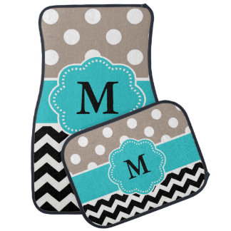 Tan Black Teal Chevron Monogram Floor Mat