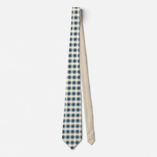 Tan Blue Geometric Star Spiral Design Tie